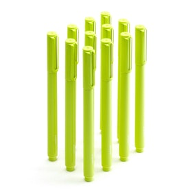 Lime Green Signature Ballpoint Pens w/ Black Ink, Set of 12