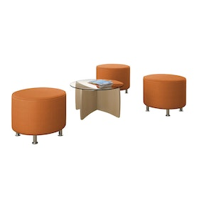 Alight Round Ottoman, Orange,Orange,hi-res