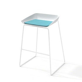 Scoop Bar Stool, Aqua Seat Pad, White Frame