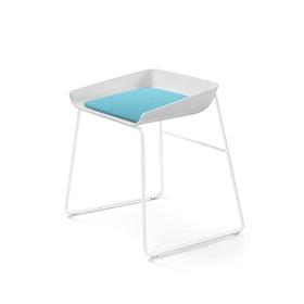 Scoop Low Stool, Aqua Seat, White Frame,Aqua,hi-res