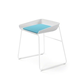 Scoop Low Stool, Aqua Seat, White Frame
