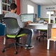 "Bivi Desk Plus One, Warm Oak, 48"", White Frame ,Warm Oak,hi-res"
