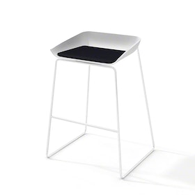 Scoop Bar Stool, Black Seat Pad, White Frame