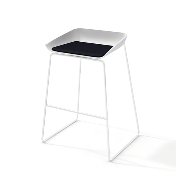 Scoop Bar Stool, Black Seat Pad, White Frame,Black,hi-res