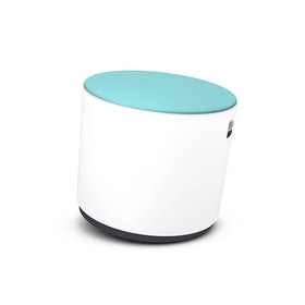 White Buoy Stool, Aqua Seat
