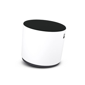 White Buoy Stool, Black Seat,Black,hi-res