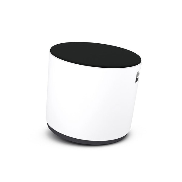 White Buoy Stool, Black Seat,Black,hi-res