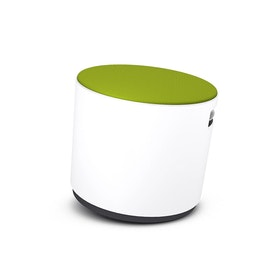White Buoy Stool, Lime Green Seat