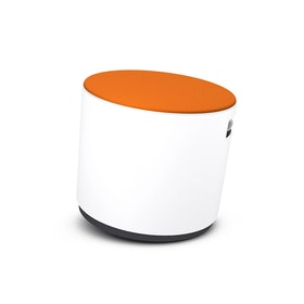 White Buoy Stool, Orange Seat,Orange,hi-res