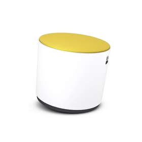 White Buoy Stool, Yellow Seat