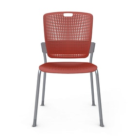 Shell Red Cinto Chair, Silver Frame