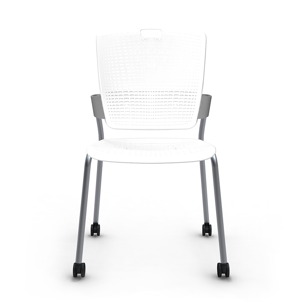 Shell White Cinto Chair, Rolling, Silver Frame| Modern Office ...