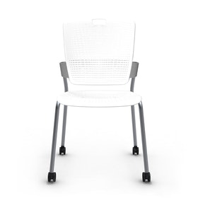Shell White Cinto Chair, Rolling, Silver Frame