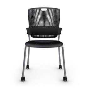 Shell Black Cinto Chair, Rolling, Silver Frame