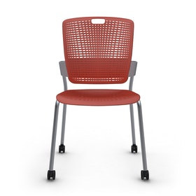 Shell Red Cinto Chair, Rolling, Silver Frame