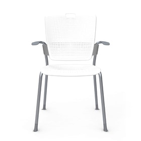 Shell White Cinto Chair wth Arms, Silver Frame