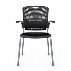 Shell Black Cinto Chair wth Arms, Silver Frame