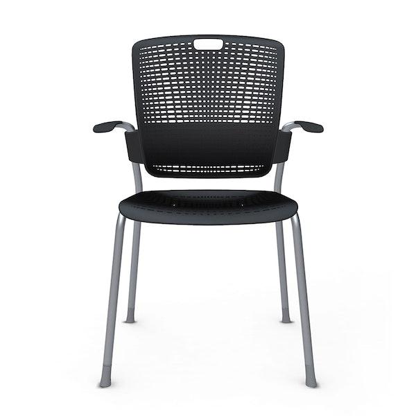 Shell Black Cinto Chair wth Arms, Silver Frame,Black,hi-res