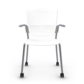 Shell White Cinto Chair with Arms, Rolling, Silver Frame,White,hi-res