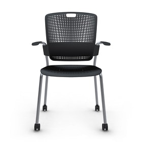 Shell Black Cinto Chair with Arms, Rolling, Silver Frame