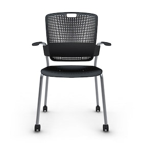 Shell Black Cinto Chair with Arms, Rolling, Silver Frame,Black,hi-res