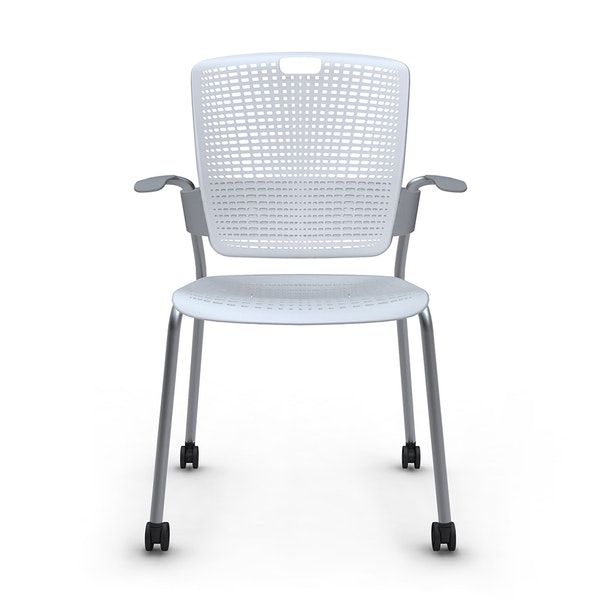 Shell Light Gray Cinto Chair with Arms, Rolling, Silver Frame,Gray,hi-res