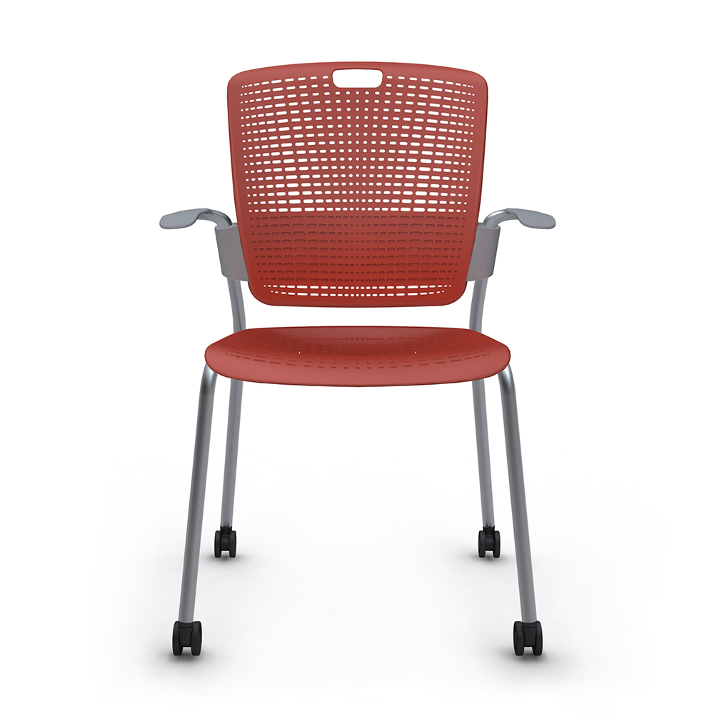 Shell Red Cinto Chair With Arms Rolling Silver Frame Modern Office Furniture Poppin
