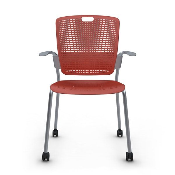 Shell Red Cinto Chair with Arms, Rolling, Silver Frame,Red,hi-res