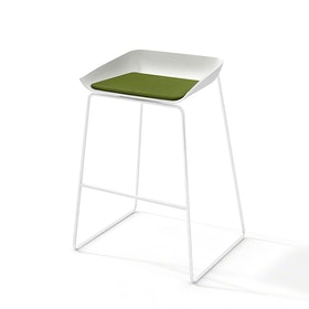Scoop Bar Stool, Green Seat Pad, White Frame