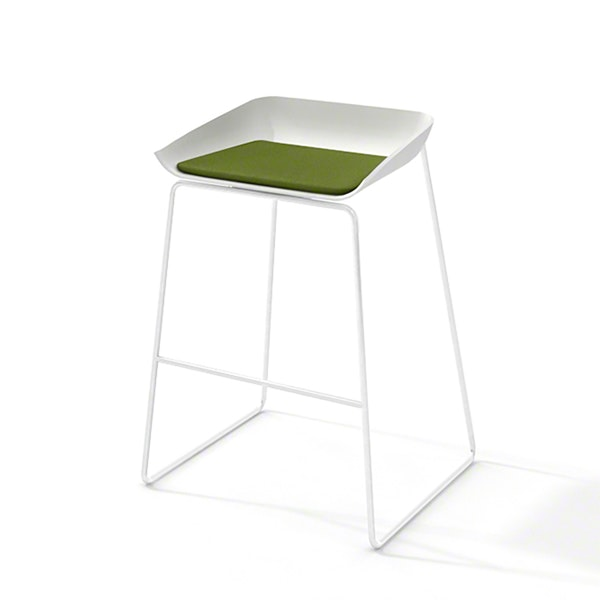 Scoop Bar Stool, Green Seat Pad, White Frame,Green,hi-res