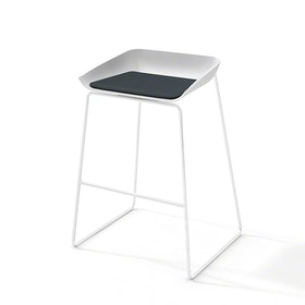 Scoop Bar Stool, Gray Seat Pad, White Frame