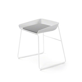 Scoop Low Stool, Gray Seat, White Frame