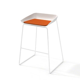 Scoop Bar Stool, Orange Seat Pad, White Frame