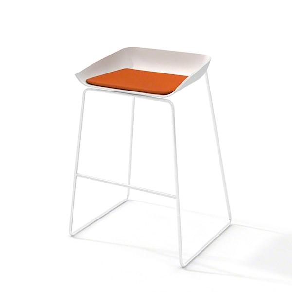 Scoop Bar Stool, Orange Seat Pad, White Frame,Orange,hi-res