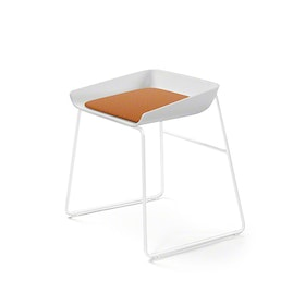 Scoop Low Stool, Orange Seat, White Frame