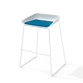 Scoop Bar Stool, Pool Blue Seat Pad, White Frame