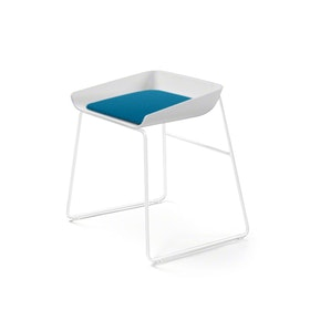 Scoop Low Stool, Pool Blue Seat, White Frame