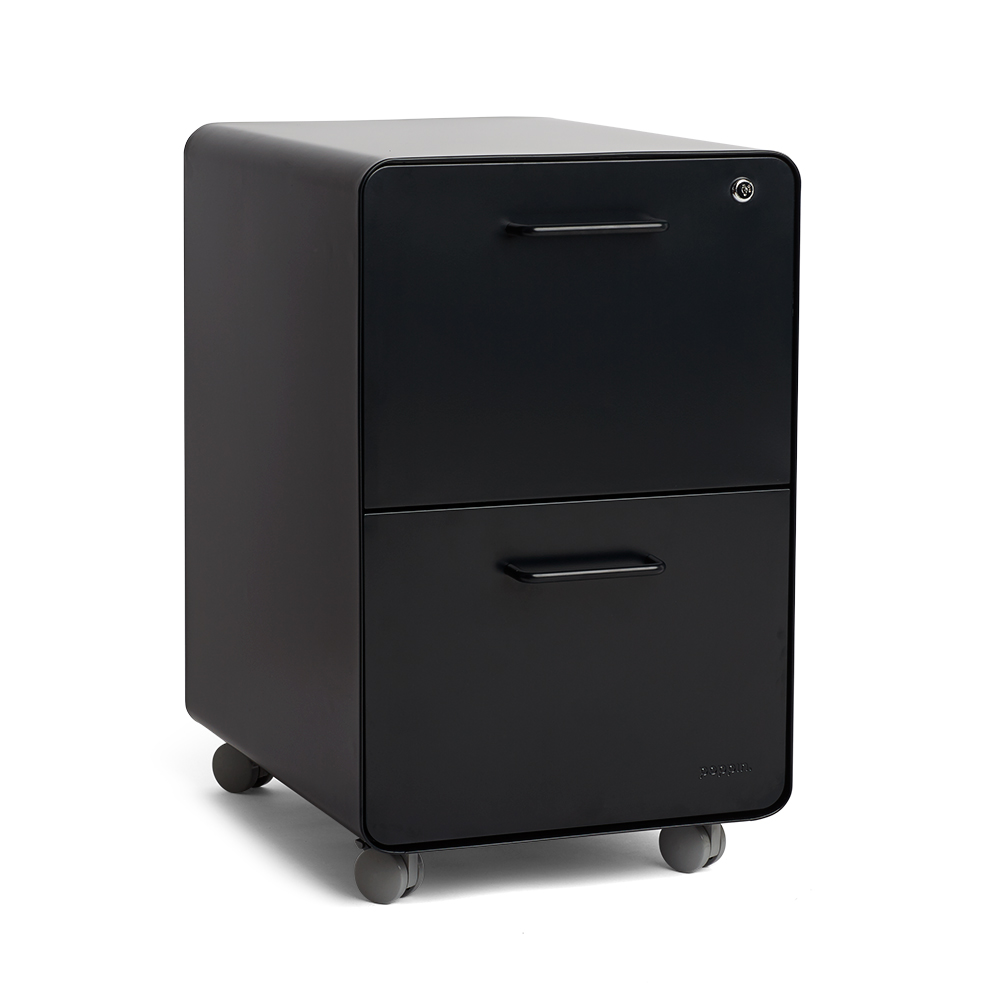 Superior Black Stow 2 Drawer File Cabinet, Rolling,Black,hi Res