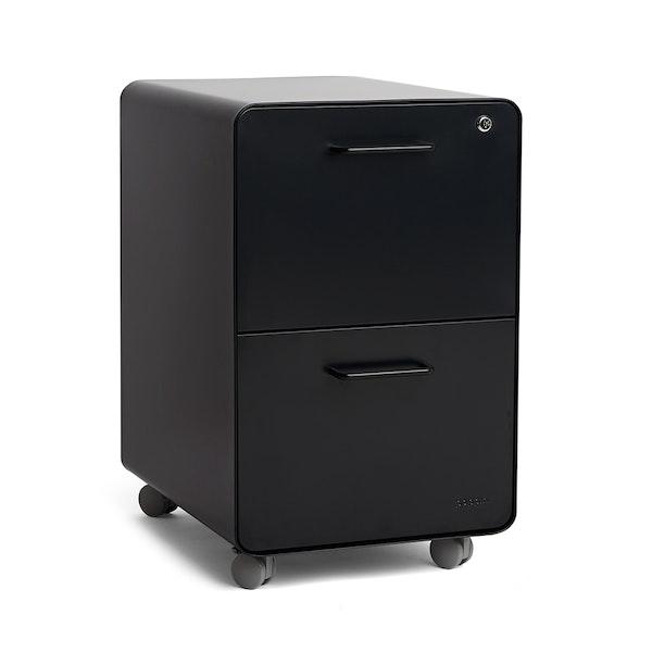 Black Stow 2-Drawer File Cabinet, Rolling,Black,hi-res
