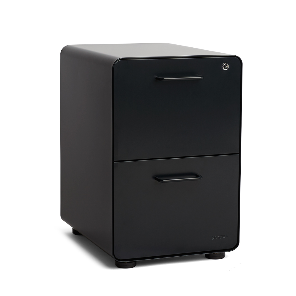 Black Stow 2 Drawer File Cabinet Modern Office Furniture Poppin
