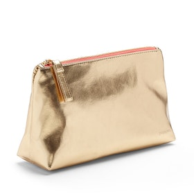 Gold + Coral Medium Accessory Pouch,Gold,hi-res
