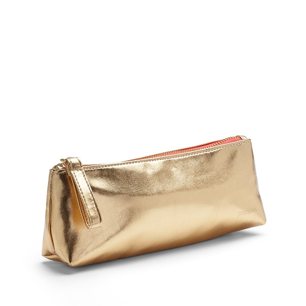 Gold + Coral Pencil Pouch,Gold,hi-res