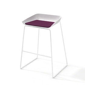 Scoop Bar Stool, Purple Seat Pad, White Frame