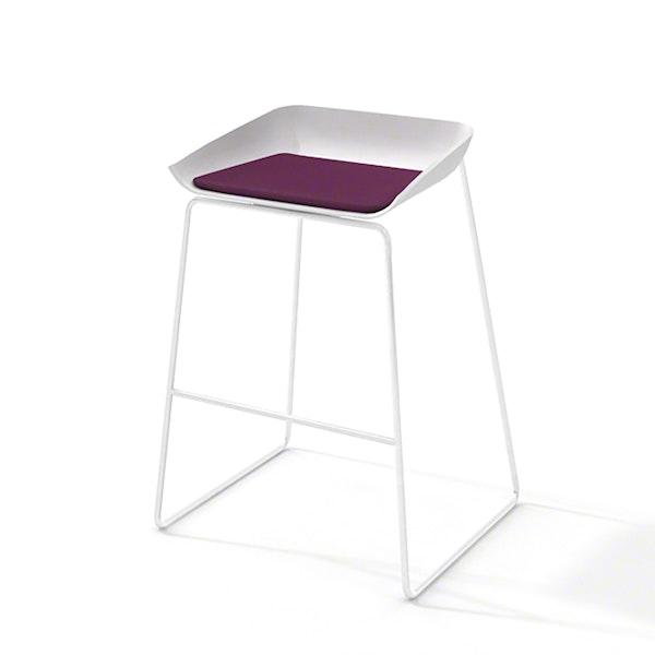 Scoop Bar Stool, Purple Seat Pad, White Frame,Purple,hi-res