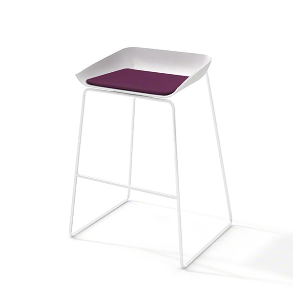 Scoop Bar Stool, Purple Seat Pad, White Frame,Purple,hi-res