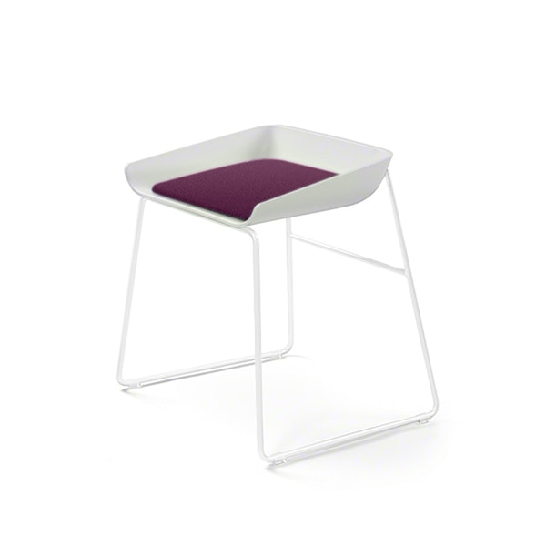 Scoop Low Stool, Purple Seat, White Frame,Purple,hi-res