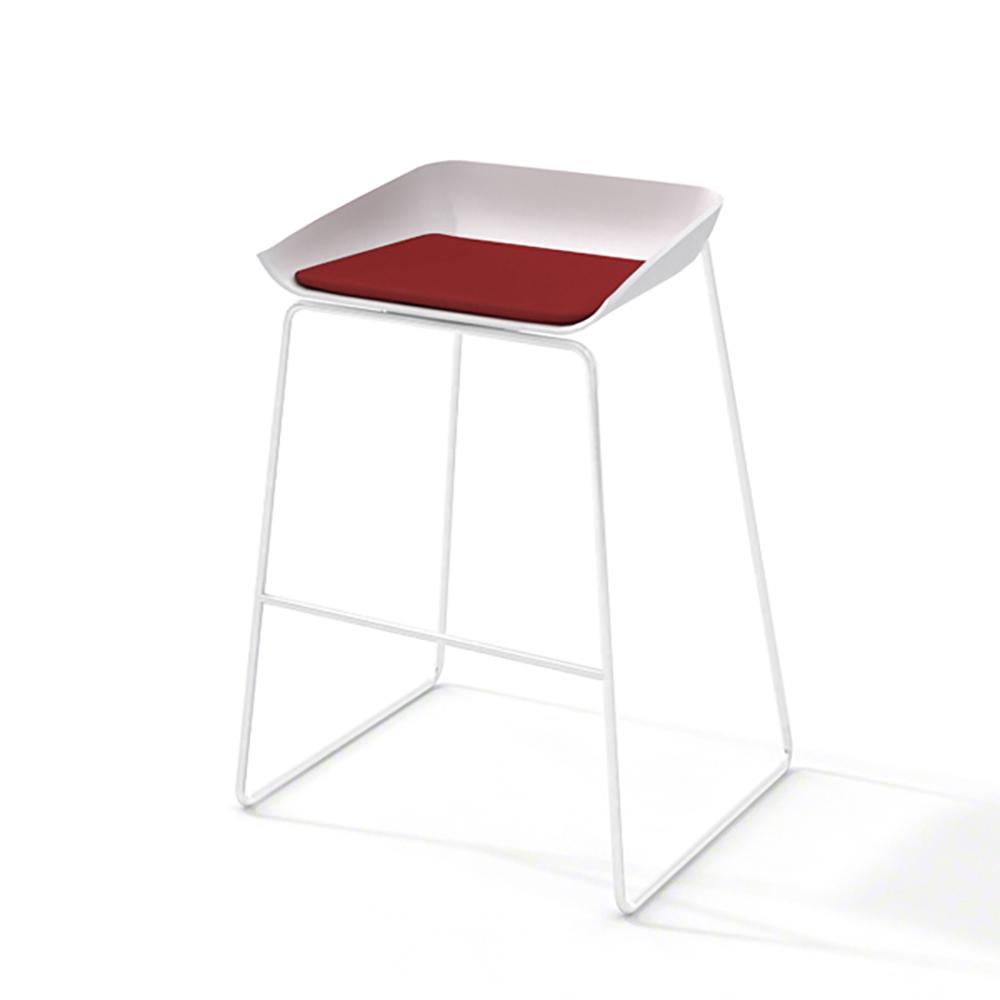 Scoop Bar Stool Red Seat Pad White Frame Hi Res