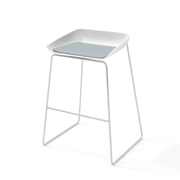 Scoop Bar Stool Gray Seat Silver Frame Modern Office