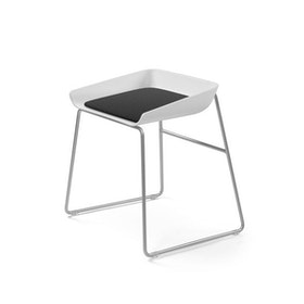 Scoop Low Stool, Black Seat, Silver Frame