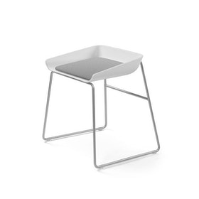 Scoop Low Stool, Gray Seat, Silver Frame